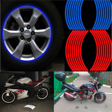 """Hot 16 Pcs Strips Wheel Stickers And Decals 14"""" 17"""" 18"""" Reflective Rim Tape Bike Motorcycle Car Tape 5 Colors Car Styling(China (Mainland))"""