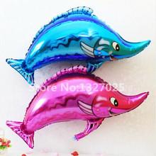 Hot 10pcs/lot swordfish cartoon fish aluminum balloons wedding party balloons decorated animal pet inflatable toys globos helio(China (Mainland))