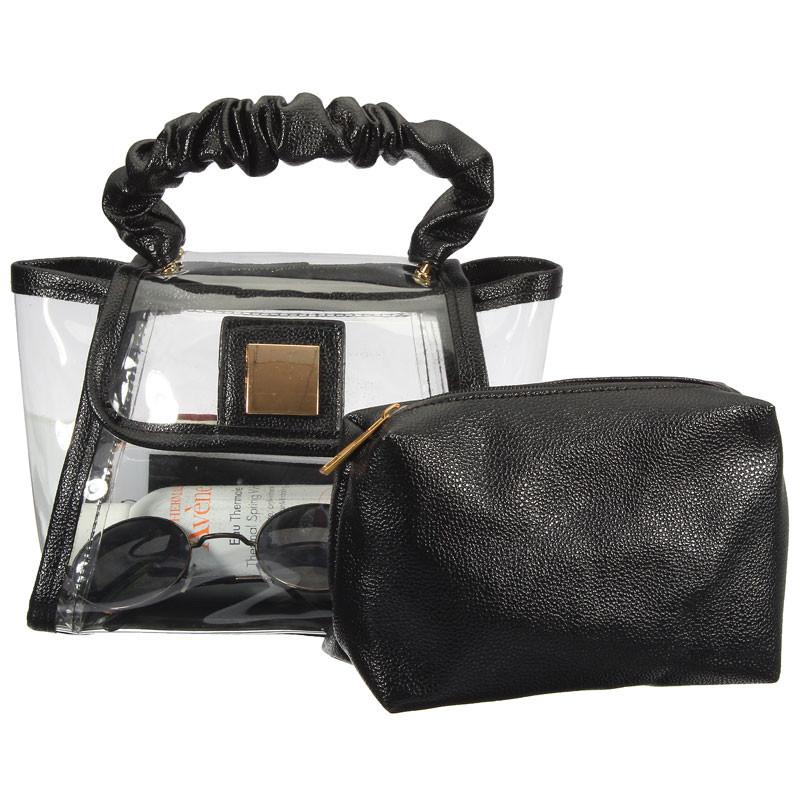 Women Handbags Fashion Transparent Soft Plastics Popular Shoulder Make up Wash Bags Mulitifunction Lady Girls Gift(China (Mainland))
