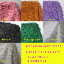 Mongolian Curly Sheep Faux Fur Fabric, Newborn baby photography props. Faux wool Basket Stuffer Blanket Rug, Size 100*75cm(China (Mainland))