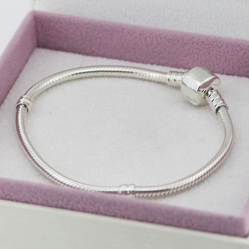 Authentic 925 Sterling Silver Bracelet Snake chain Basic Bracelets fit Women Bead Charm With Logo DIY Bangles Jewelry YW20183