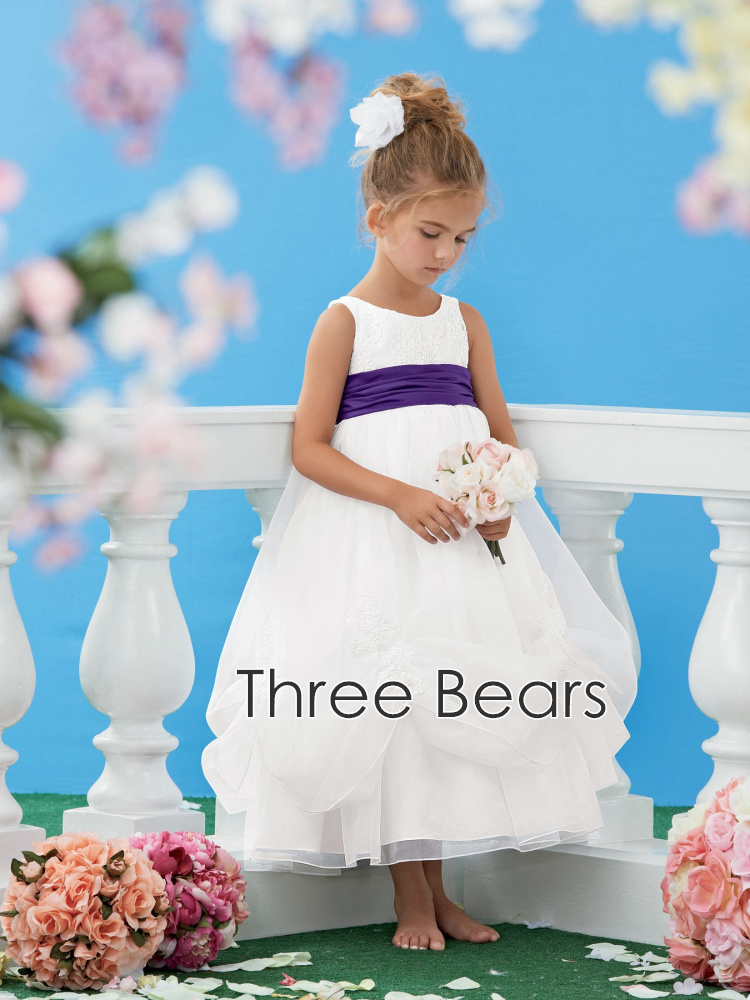 2015 first communion dresses Lovely Purple Sashes Flower Girl Dresses for weddings lace appliques girls communion dresses(China (Mainland))