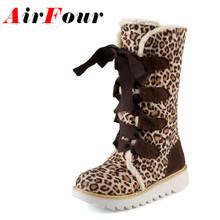Airfour Nueva Venta Caliente Mitad Rodilla Botas de Moda de Piel Gruesa Zapatos calientes Del Invierno de La Vendimia Atan Para Arriba Plataforma Botas de Nieve Al Aire Libre mujeres(China (Mainland))