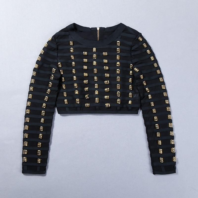 Top Quality Celebrity Black Manual Beading Hollow Out Long Sleeve Rayon Short Bandage Jacket Cocktail Party Outerwear