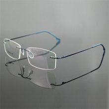Classic Mens Pure Titanium Rimless Glasses Frames Myopia Optical Frame Ultra-light Titanium Business Frameless Eyeglasses Frame