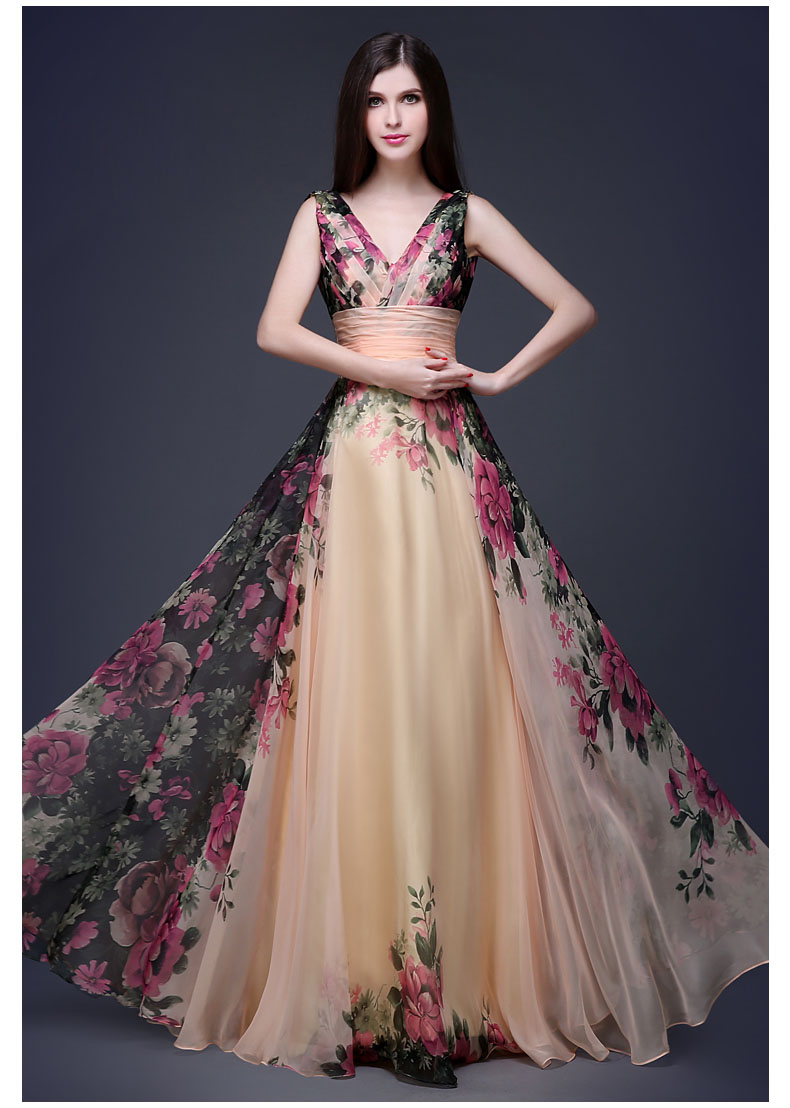 Unique Stylish Wedding Dresses : Dresses floral chiffon dress lace up unique stylish party gowns