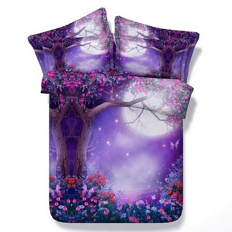3D Purple comforter sets flower bedding queen full super ...