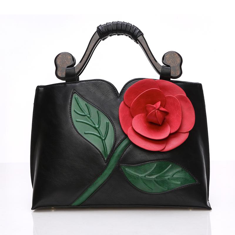 2016 Spring 3D Flower Women Bag Vintage Womens Leather Handbag Female Tote Bag Shoulder Bag High Quality Design Hit Color <br><br>Aliexpress