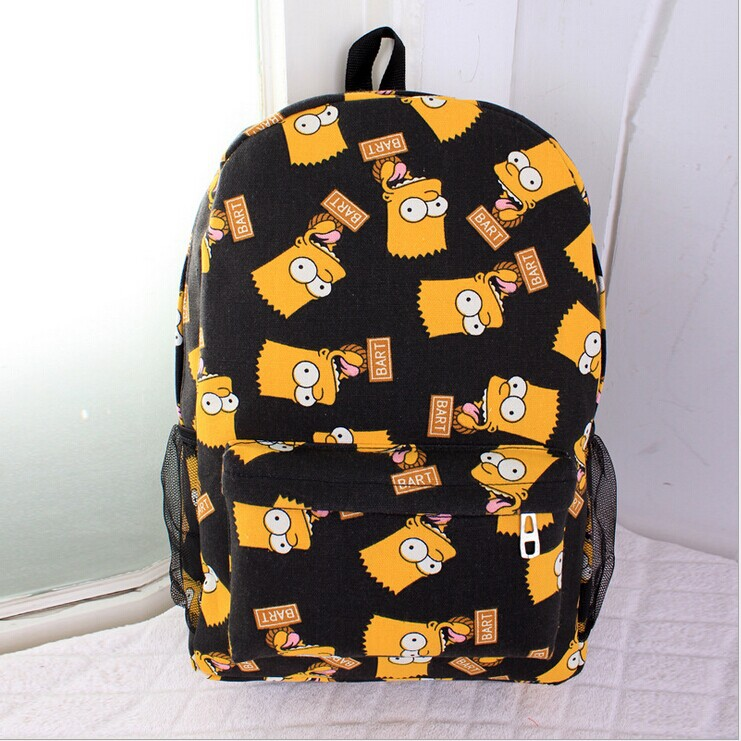 Bart Simpsons joyrich women men s canvas backpack school book travel sports bags for girls boys