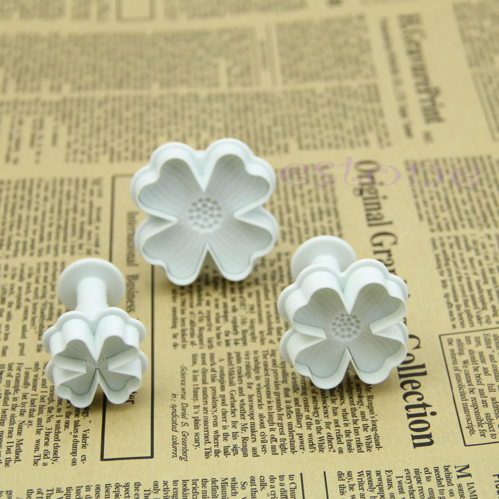 W110- New Arrive 4-Heart Flower Cake Decorating Tool Fondant Mold Mould Plunger Cutter Sugarcraft - co-co fashion store
