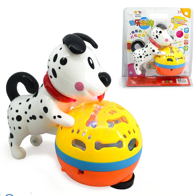 2016 Interesting electronic toy dog Cute Dalmatians Universal rotation with light music Electronic pet Baby toys Gifts for kids(China (Mainland))