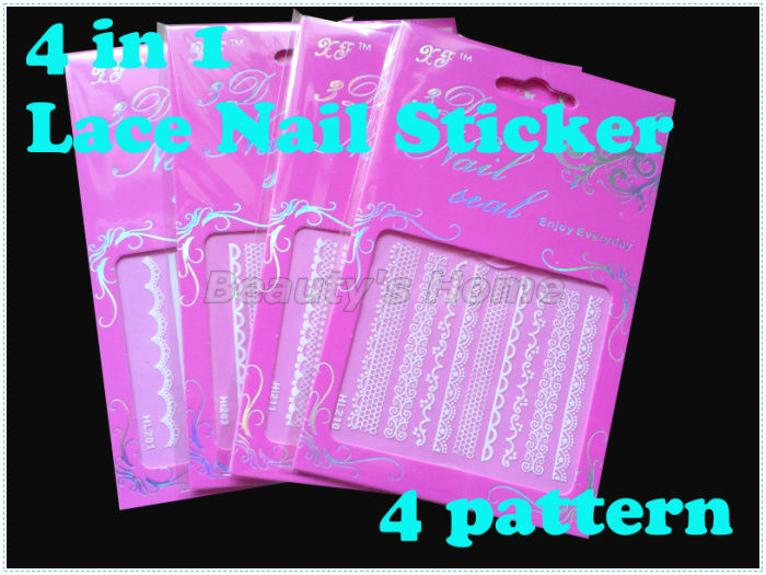 4 1 Lace nail designs adhesive Nail Stickers decals Art Decoration pattern #0824 - Packing Supplier(Bottles and Jars store)