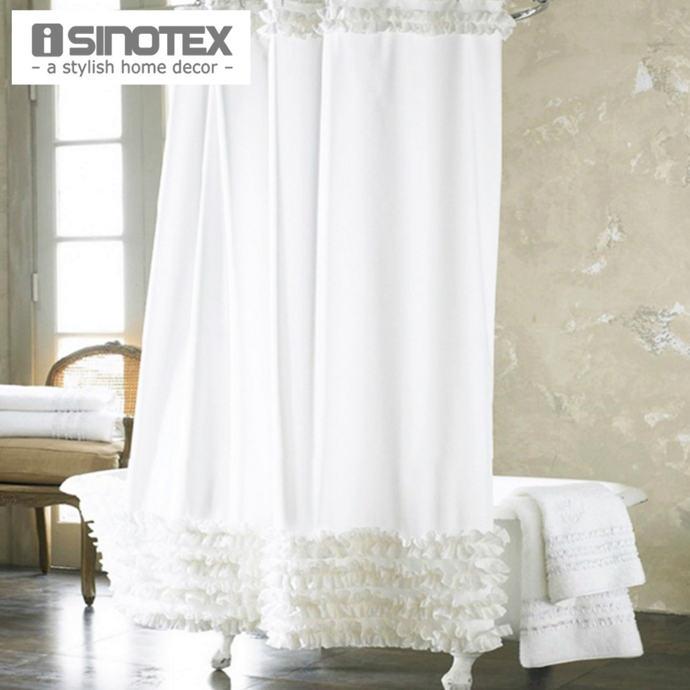 Shower Curtain Waterproof Moldproof Solid Polyester Fabric Lace ...