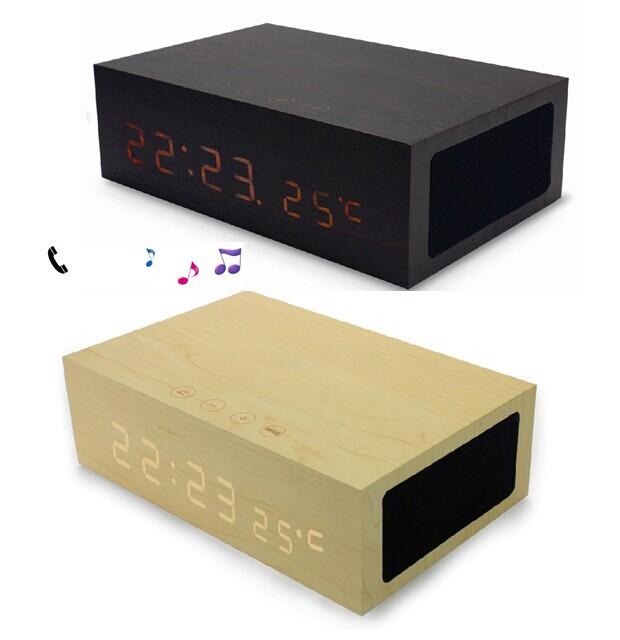 Original Wooden Bluetooth Alarm Clock Stereo Speaker LED Time+Temperature Display+NFC+USB Charger+Handsfree bluetooth speaker - Fashion Digital Gadgets store