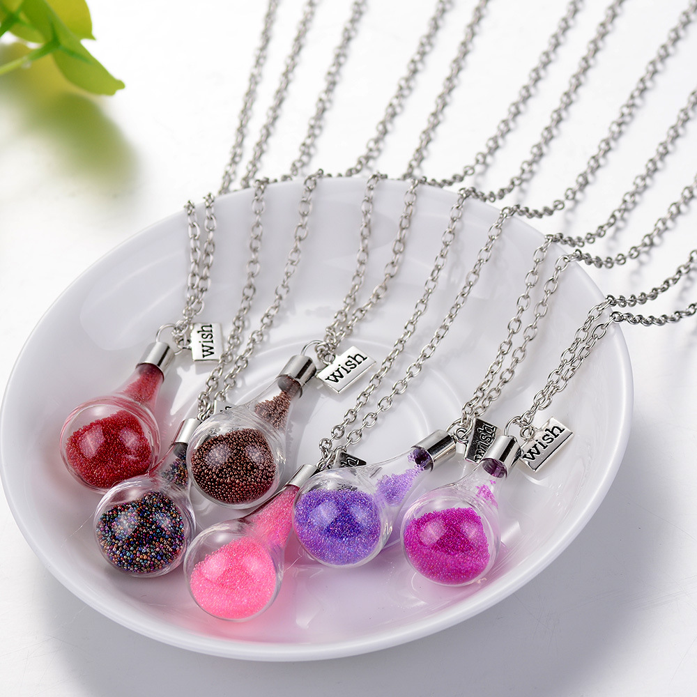 12pcs Hot Fashion quicksand Glass Ball Wish Necklace Long Strip Link Silver Chain Pendant Necklaces Women 2016 Jewelry DIY(China (Mainland))