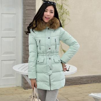 Зима куртка утка пуховик длинная капюшон, верхняя одежда пальто женщины приталенный настоящее мех воротником куртка пиджаки свободного покроя пальто