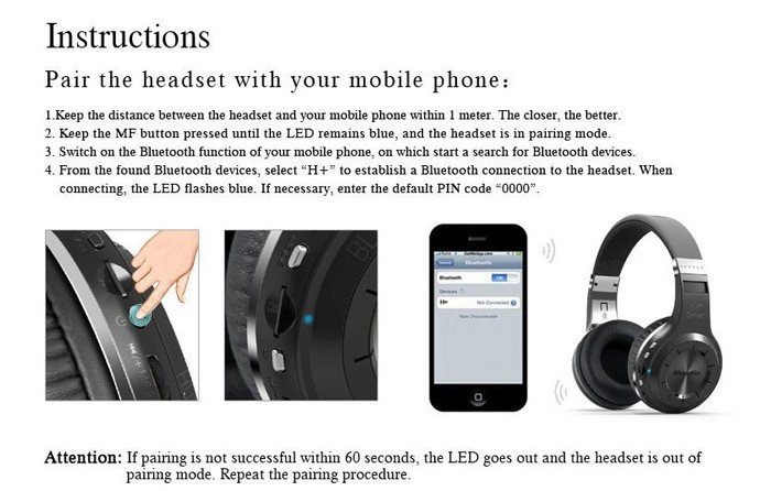 Original Bluedio H+ Bluetooth Stereo Wireless headphones Super Bass Music Mp3 Player Headset with Mic FM BT4.1 headphones