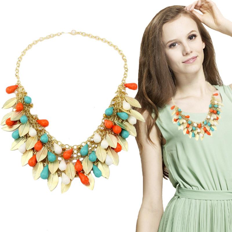 Orange Jewelry Collar Statement Necklace Multi Layer Leaf Beads Women Bijoux Choker Necklace Collier Femme N2136(China (Mainland))