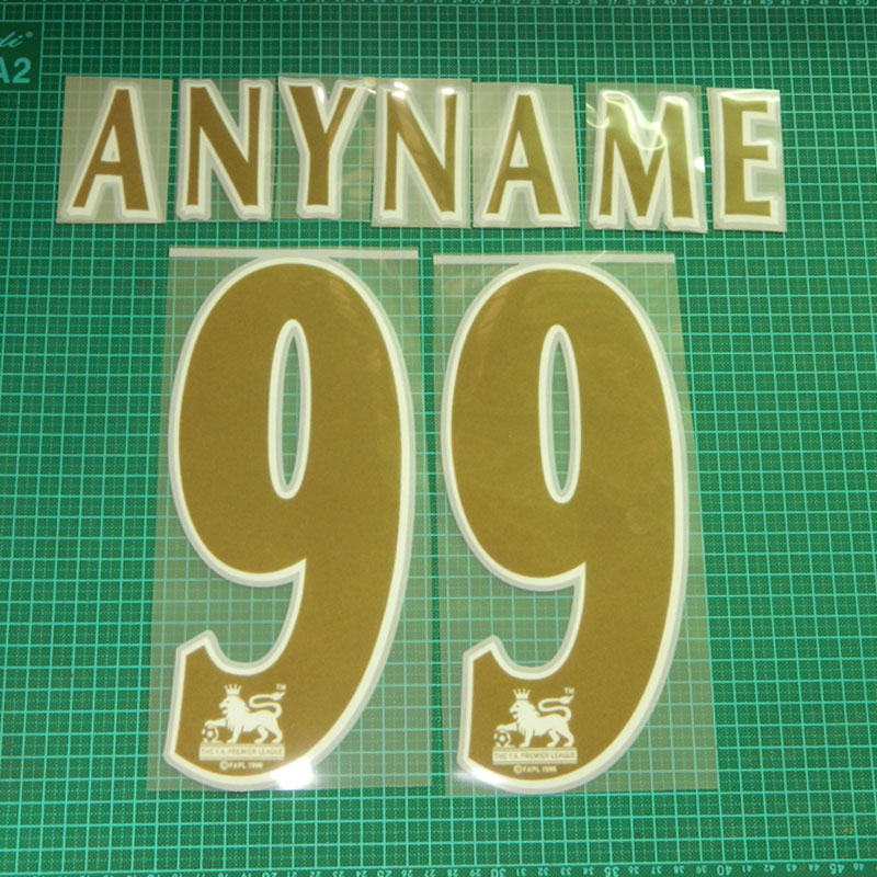 England Premier League 1997-2006 ANYNAME 99 Soccer Jersey Gold Nameset & Number Set(China (Mainland))