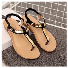 Beautiful Women Sandals 2016 Flat Sandals Women Summer Shoes Sequined Ladies Sandals Black Sandale Femme Plus Size 41 42