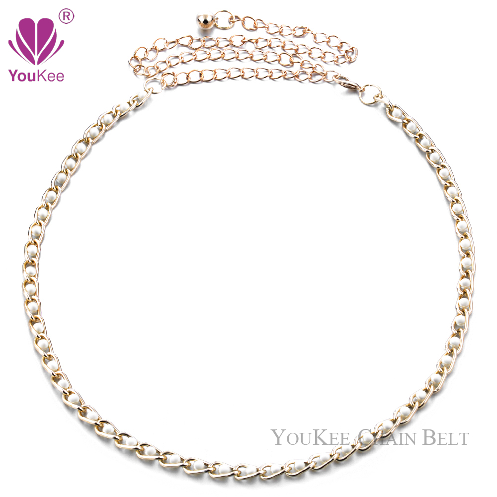 36pcs/lot Gorgeous Pearls Chain Belt Metal Waist Femme Ceinture Pendant  Womens Thin Belt Cinto Strap (BL-654) YouKee BeltОдежда и ак�е��уары<br><br><br>Aliexpress