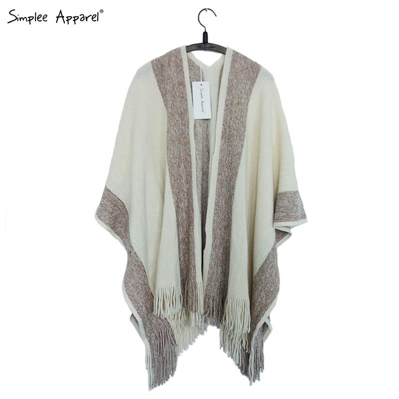 Simplee Apparel striped tassel tricot warm wool sweater wrap shawl Women knitted cotton oversized capes and ponchos autumn warm(China (Mainland))