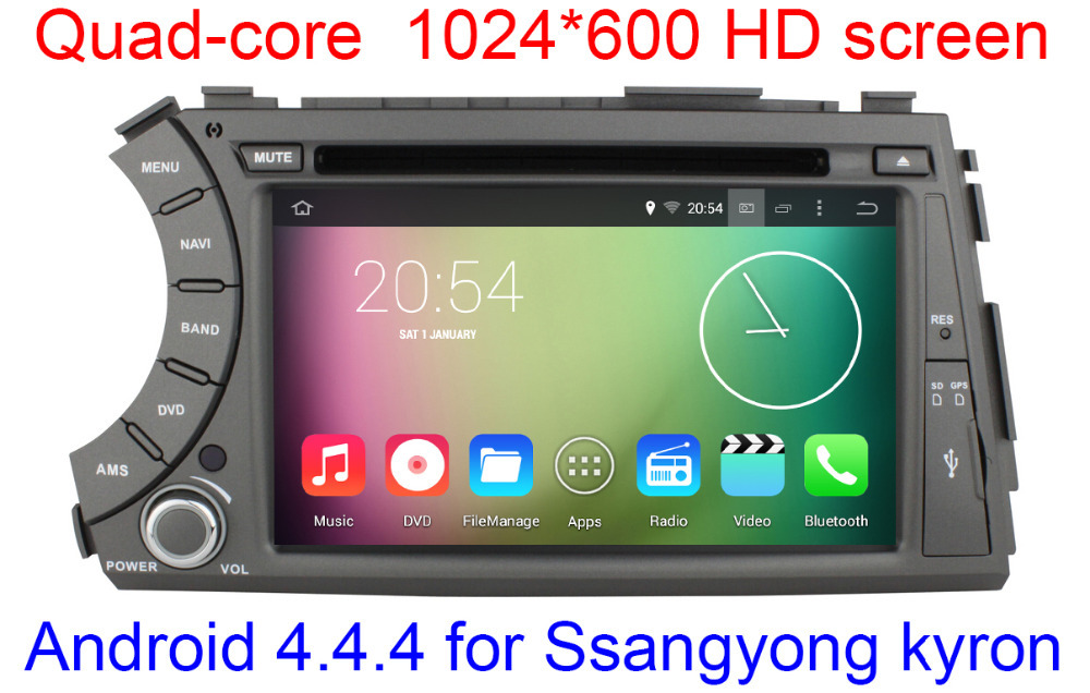 Quad Core 1024X600 HD Capacitive Screen Android 4.4.4 Car DVD GPS For Ssangyong Kyron Actyon with 16G Nand WIFI 3G Radio Stereo(China (Mainland))