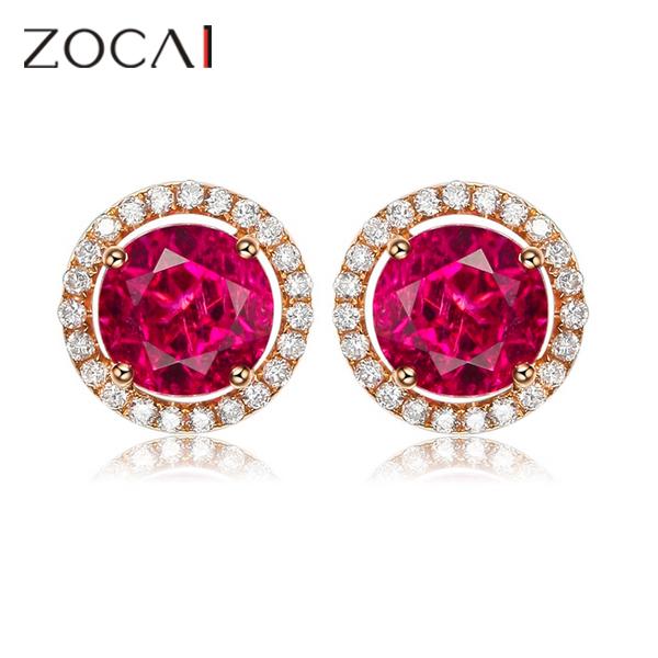 ZOCAI brand Genuine 18K rose gold 2.2 ct top red tourmaline with 0.23 ct diamond wedding stud earrings E21<br><br>Aliexpress