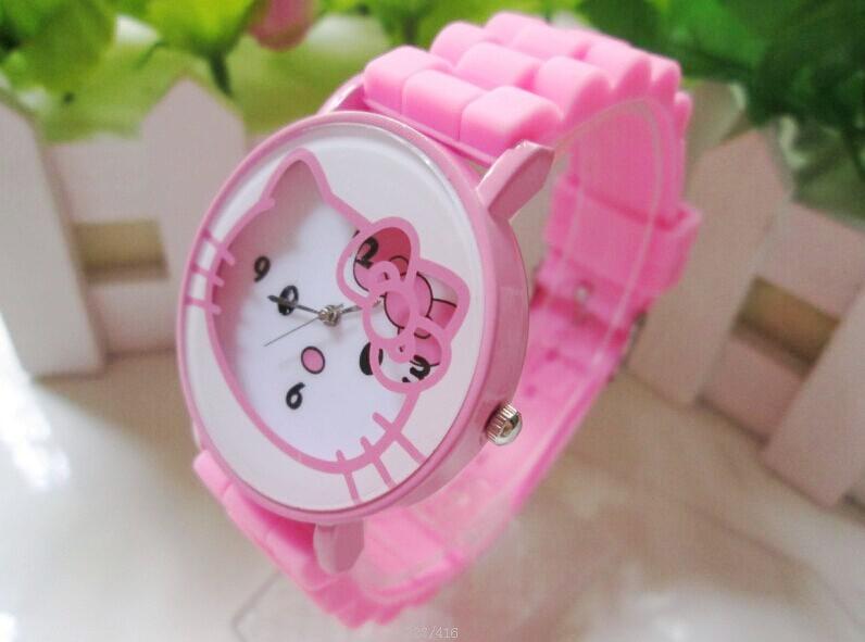 1pcs Cartoon Watches Rubber Cute Hello Kitty Watch Silicone Wristwatches Children Quartz kids watch(China (Mainland))
