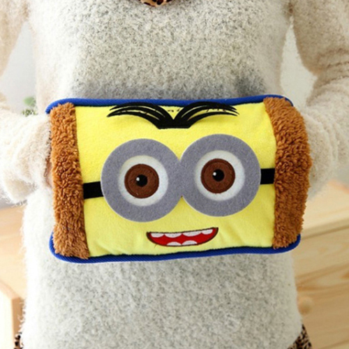 Free Shipping new design cute minions water bottle velvet embroidered storage type funny electric heating hot water bottle(China (Mainland))