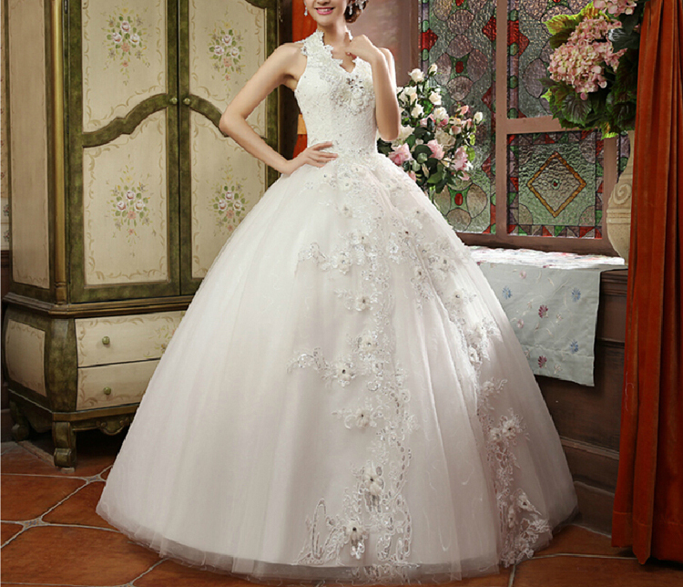 2015 yarn autumn and winter the bride married fashion halter-neck thickening winter wedding dress formal dress(China (Mainland))