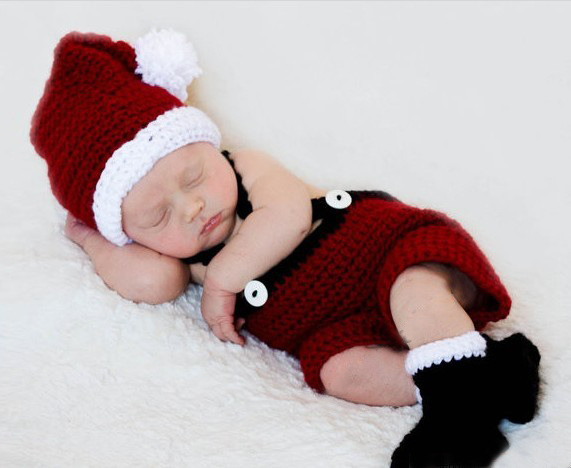 Wool hand-knit children's clothing newborn photography Christmas cartoon clothes sweater dress suit baby pictures(China (Mainland))