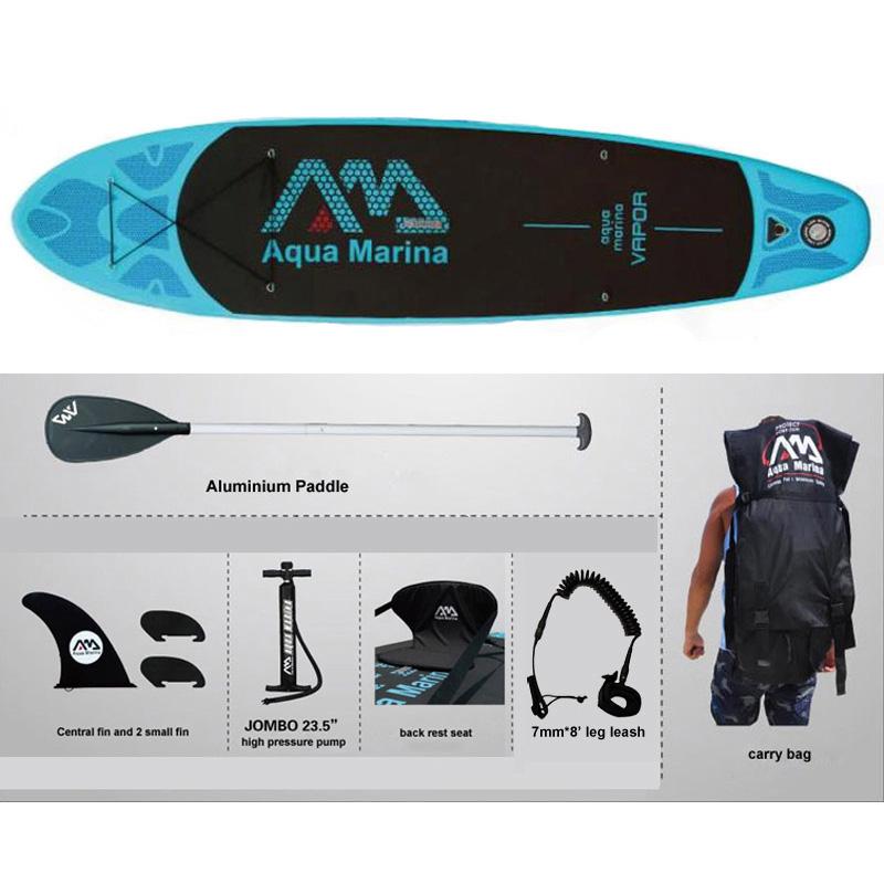 full set AQUA MARINA 11 feet VAPOR inflatable sup stand up paddle board inflatable surf board surfboard boat 330*75*10cm(China (Mainland))