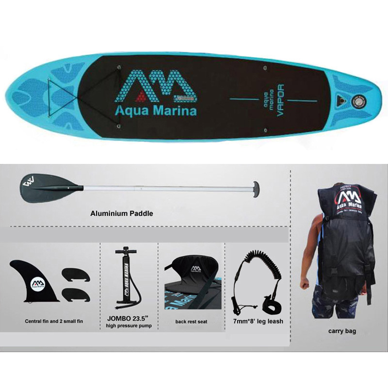full set AQUA MARINA 11 feet VAPOR inflatable sup stand up paddle board inflatable surf board surfboard boat 330*75*10cm(China (Mainland))