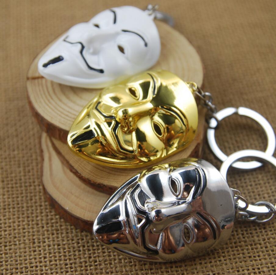 [V for Vendetta] Pop Film Mask Mini Metal Model Keychain Movie Accessories Men&Women Fashion Jewels Key Ring Wholesale(China (Mainland))