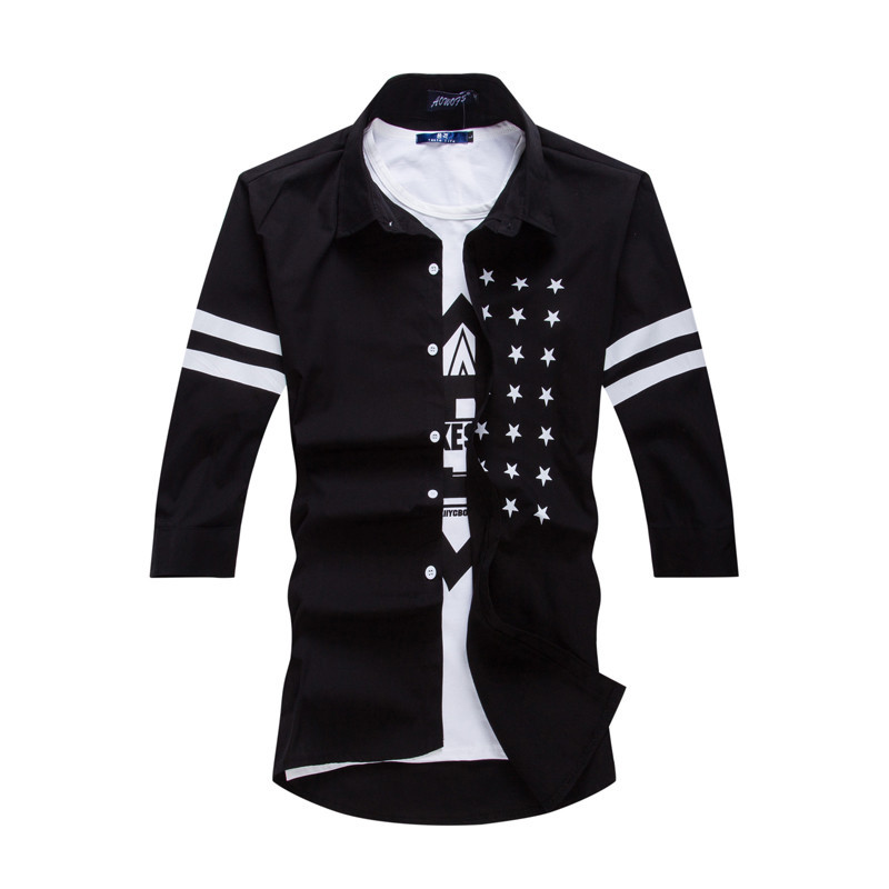 2015 new style casual shirts men long sleeve letter print for New look mens shirts