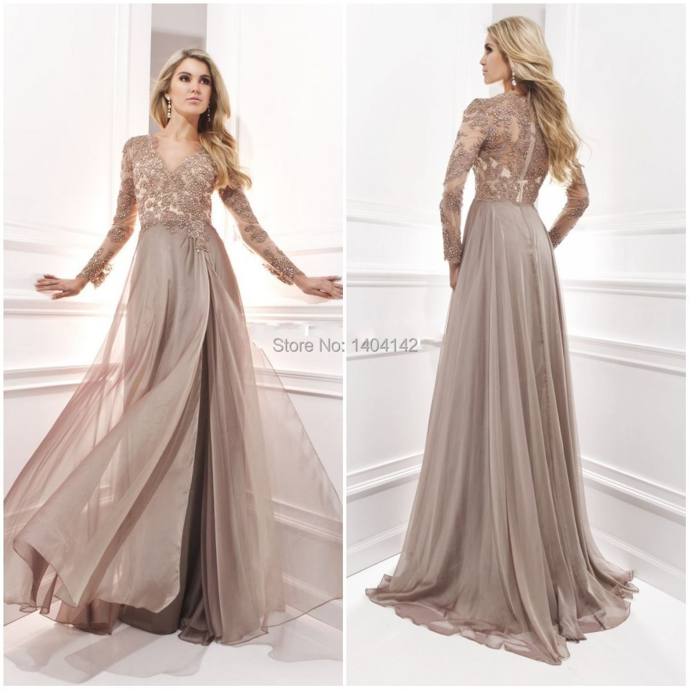 Chiffon dresses for wedding long sleeve evening gown with for Long sleeve chiffon wedding dress