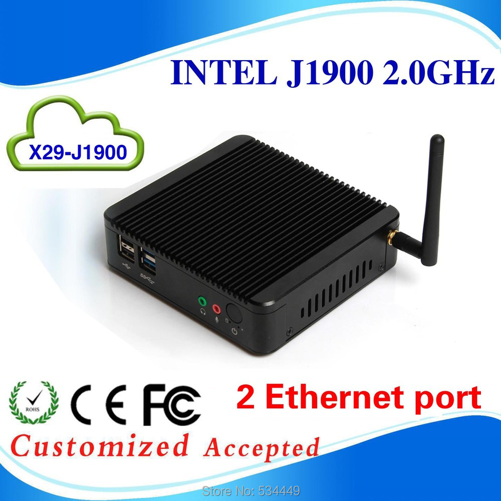 Celeron j1900 Mini PC Intel Core Dual Lan Port Win7 / Linux / Win8 Windows Desktop Thin client Macro Computer Mini PCs(China (Mainland))