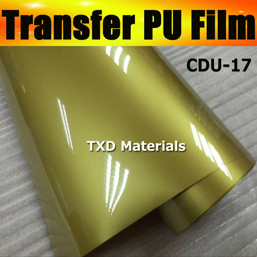 Free shipping DISCOUNT Whole roll heat transfer PU vinyl 0.5X25M/Roll with good quality CDU-17 GOLD COLOR(China (Mainland))