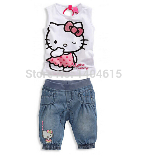 RT-126 Free Shipping 2014 New Arrival Baby Girls Cartoon Print Clothes Suit Children Cartoon Lovely Clothing Sets Kids Ware(China (Mainland))