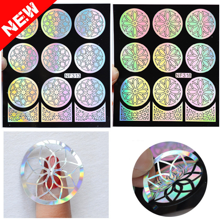 2016 New Outline Flowers Nail Vinyls Irregular Grid Pattern Stamping Nail Art Tips Manicure Stencil Hollow Stickers Guide(China (Mainland))
