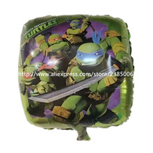 wholesale 50pcs 18 inch square of aluminum foil balloons Teenage Mutant Ninja Turtles toys for children birthday party balloons(China (Mainland))