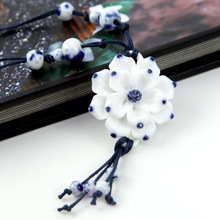 2013 Newly Multistyle Flowers Porcelain Traditional Jewelry Knitted High Quality Lotus Pendant Sweater Adjustable Necklace N2058(China (Mainland))