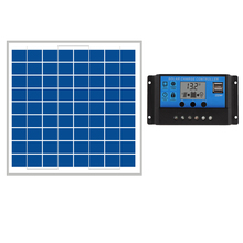 hot sale 10W Solar Panels + 10A 12V 24V Solar Controller LCD display small solar home system 18V solar charger 12V battery(China (Mainland))