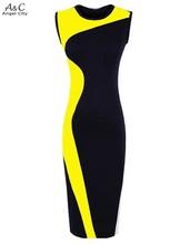 2016 New Fashion Women Elegant Vintage Geometry Sleeveless Bandage Dress O-Neck Bodycon Party Evening Slim Pencil Dress 51(China (Mainland))