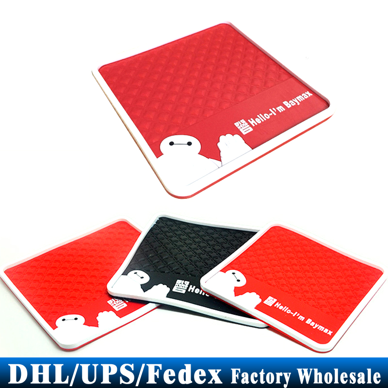 DHL/Fedex/UPS 500pcs/lot Baymax Styling Silica Gel Magic Sticky Pad Anti Slip Mat for Phone Car Anti-slip Pad Red Black(China (Mainland))