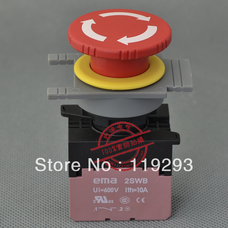 [ BELLA]Imports EMA emergency stop button switch 30mm rotary reset E3R1R1B 1 NC contact--10PCS/LOT<br><br>Aliexpress