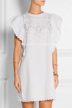 France Designers Brand Romantic Eyelets Cotton Mini Dress Classy Women's White Ruffled/Butterfly Sleeves Cutout Embroidery Dress(China (Mainland))