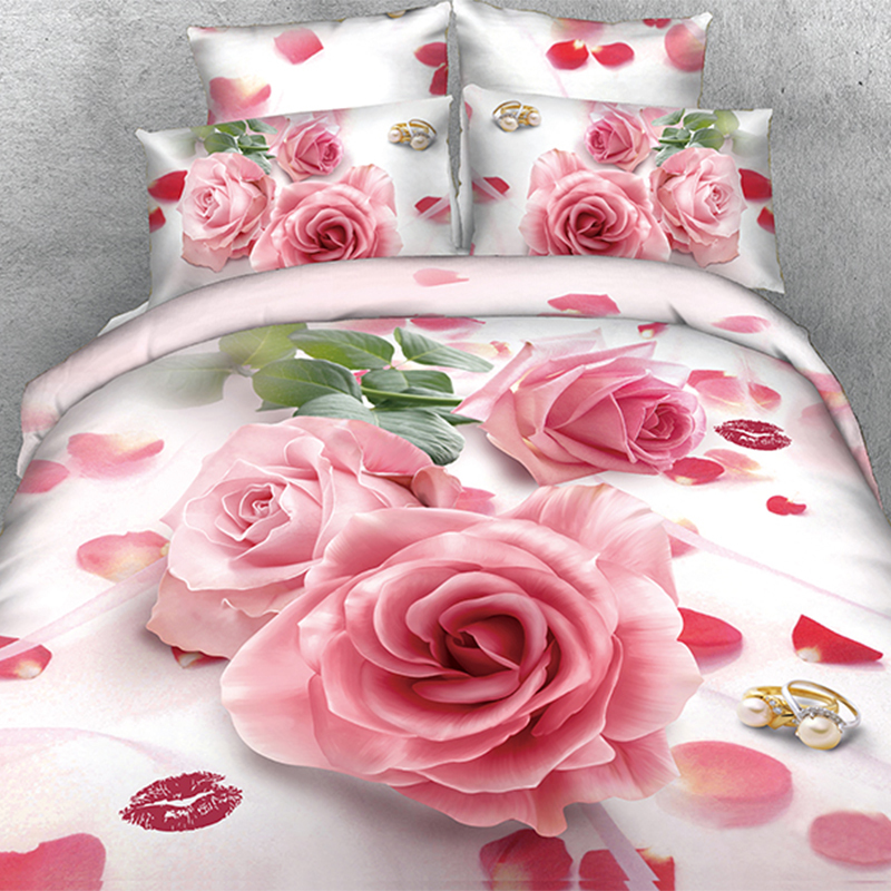 Deluxe Comforter Sets Beautiful Wedding Pink Rose Quilt Inner 3D Comforter Sets(China (Mainland))