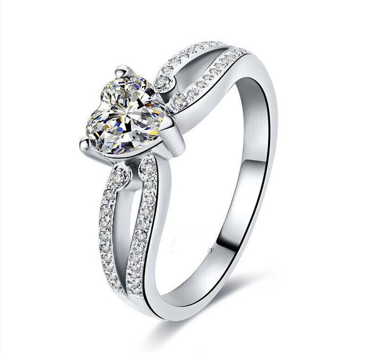 OEM Designer 2CT Heart Shape Drop Ship Promise Love Forever SONA Synthetic Diamond Ring for Your Girl Sterling Silver Jewelry(China (Mainland))